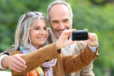 Elderly couple with Cataracts taking a selfie
