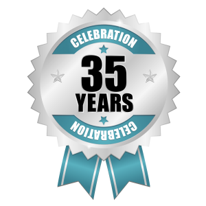 Celebrate 35 years badge
