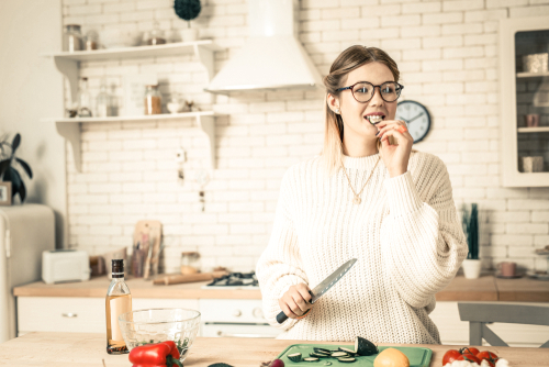 Young woman eating healthy after LASIK
